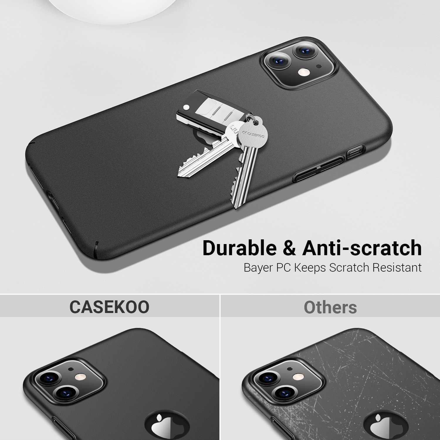 CASEKOO iPhone 11 Matte Case Black With Logo