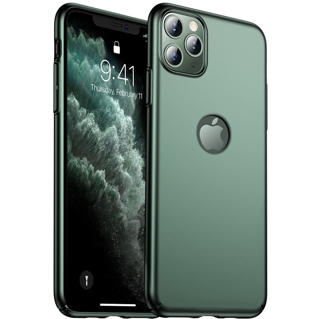Iphone 11 Pro Max Matte Case Logo Cut Out Midnight Green Casekoo