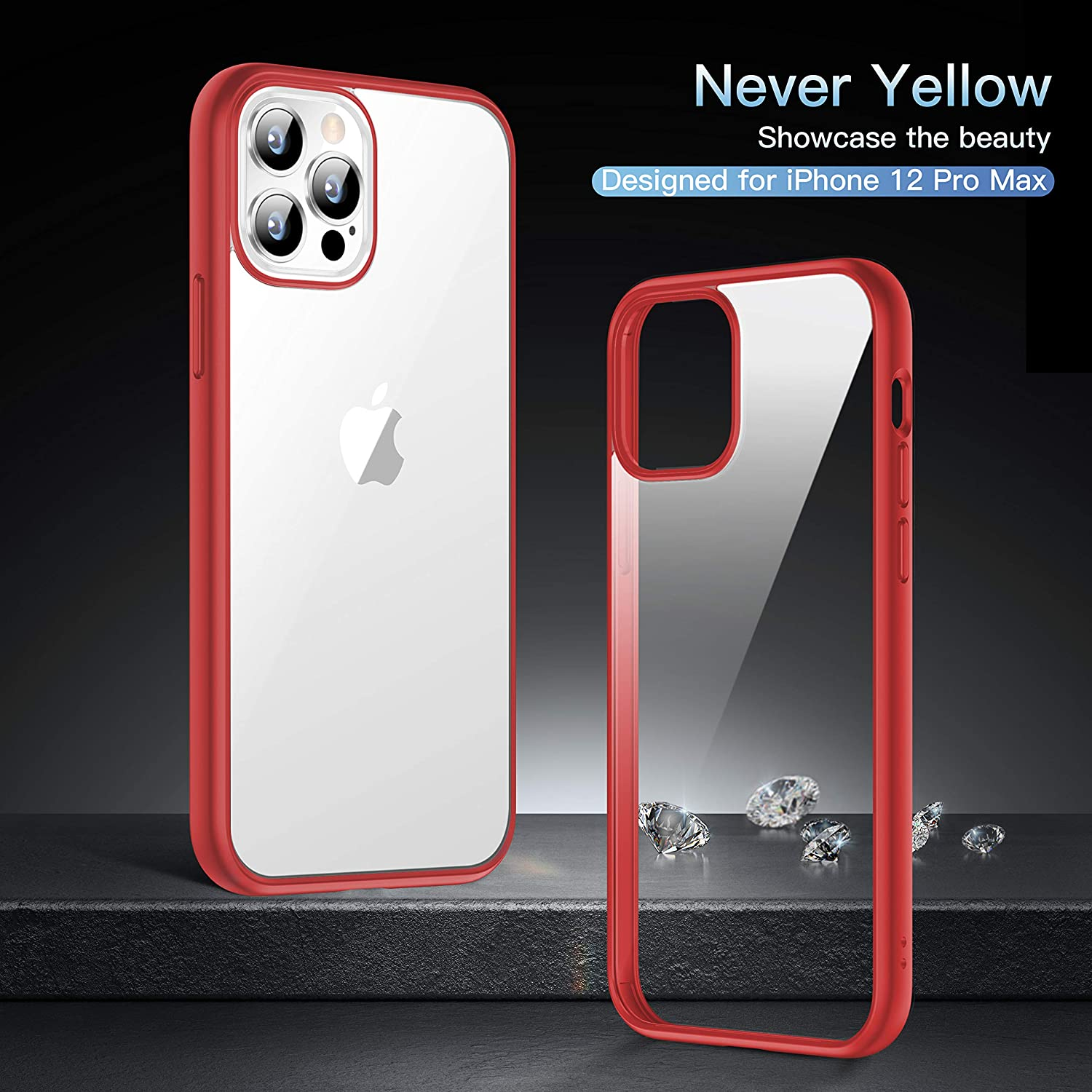 iPhone 12 pro Hard Protective Clear Case red